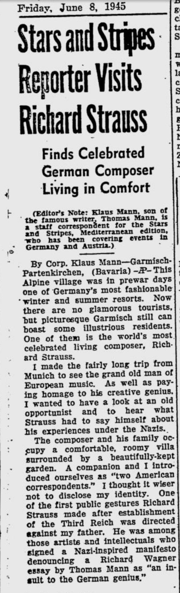 Klaus Mann über Richard Strauss
