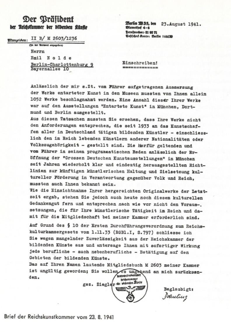 Malverbot für Emil Nolde